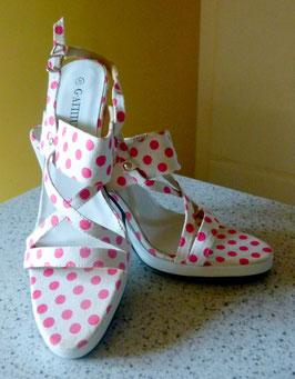 Sandaletten Gr.40 Polka Dots weiß-pink