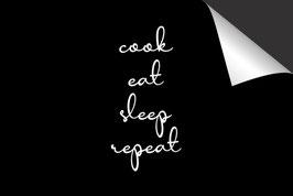 Quote - Cook Eat Sleep Repeat - Inductie Beschermer