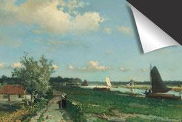 Johan Hendrik Weissenbruch - De Trekvliet bij Rijswijk-Gezicht bij de Geestbrug Inductie Beschermer
