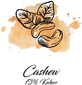 Zartbitterschokolade 73% Kakao mit Cashew  100g