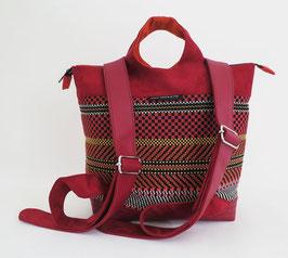 Sacados Moyen Modèle Tissu ethnique rouge Skaï rouge+ Alcantara rouge
