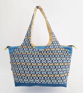 Shopper MM Tissu petits triangles bleus