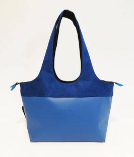 Shopper PM Skaï Bleu + Alcantara bleu