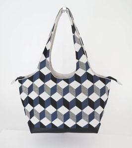 Shopper PM Tissu cubes bleus