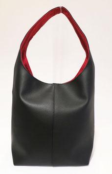 Petit sac seau Skaï Noir inter rouge