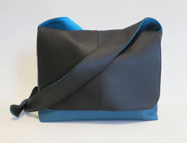 Besace GM Skaï Bleu et Noir