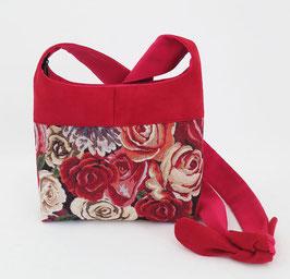 Bandoulière PM Toile Roses et alcantara rouge