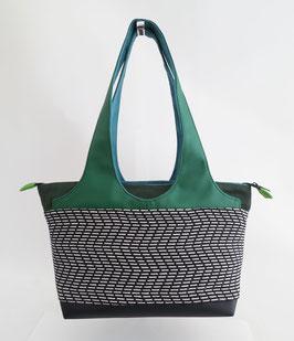 Shopper PM Tissu pointillés N&B poignées skaï vert