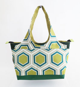 Shopper MM Tissu Hexagones verts