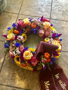 Trauer - Blütenkranz inkl. Schleife