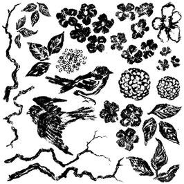 IOD Decor Stempel Birds Branches Blossoms