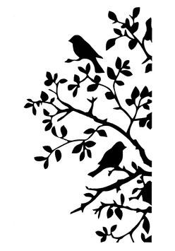 Posh Chalk Stencil Posh Birds and Bendy Branches 21x30cm