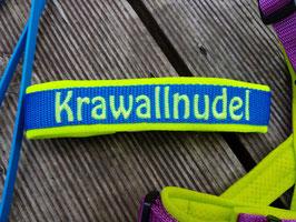 Halsband Gurtband Mittelblau - bestickt 2cm