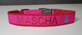 Halsband Gurtband Pink - bestickt 2cm