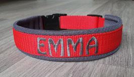 Halsband Gurtband Rot - bestickt 2cm