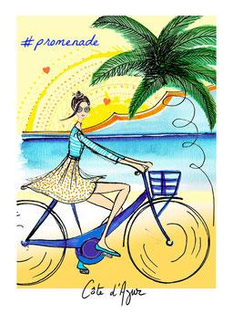 N°9 carte postale - Promenade/Vélo