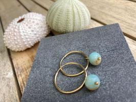 Gouden ringen met groene steen