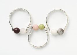 Zilveren ring met twee matte stenen - op maat gemaakt