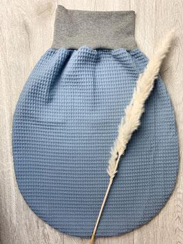 Strampelsack/Schlafsack Waffelpique Blau