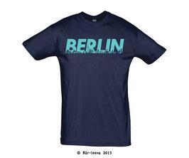 Berlin T-Shirt · navy mit cyan Druck