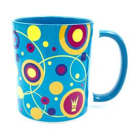 Kaffeebecher bunt: Hippie blau