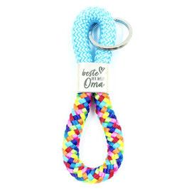 Schlüsselanhänger Segelseil für die beste Oma, regenbogen-hellblau