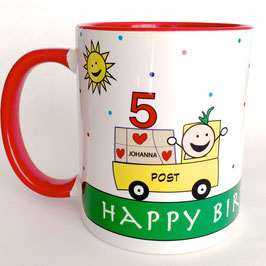 Becher Geburtstagspost personalisiert