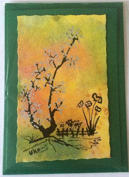 Geburtstagskarte 14 handgefertigt grün