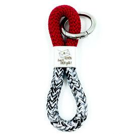 Schlüsselanhänger Schön, dass es dich gibt (schwarz-weiß-weinrot)