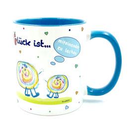 Tasse Glück ist … miteinander zu lachen blau