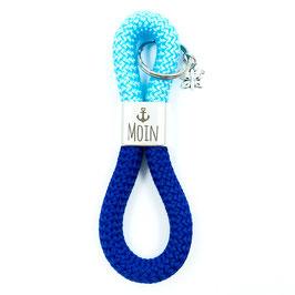 Schlüsselanhänger Segelseil Moin, Basic mit Schmetterling, hellblau-meerblau