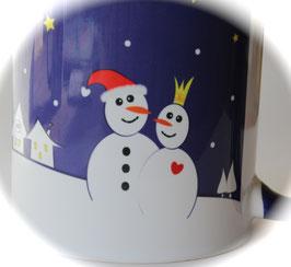 Becher verliebtes Schneemann-Paar dunkelblau