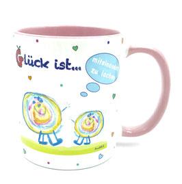 Tasse Glück ist … miteinander zu lachen rosa