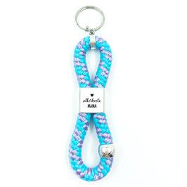 Schlüsselanhänger allerbeste Mama, Premium+ mit Herzperle, 24 Farben