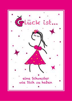 Geburtstagskarte für Schwester (rosa Rand)