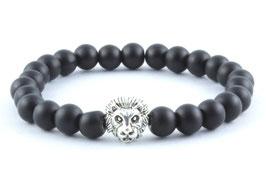 Löwen Armband Onyx Perlen Schwarz Matt