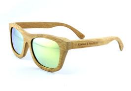 Bambus Holz Sonnenbrille im Bambus Etui Hellbraun / Gold