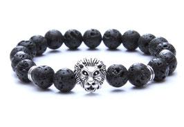 Löwen Armband Lava Stein Schwarz Basic