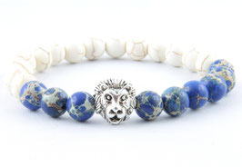 Löwen Armband Marmor Weiß Blau