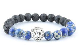 Löwen Armband Lava Stein Marmor Blau