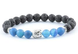 Buddha Armband Blue Ocean Lava Stein Perlen