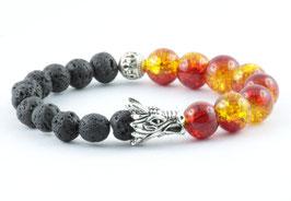 Drachenkopf Armband Lava Stein Silber ''Firestorm''