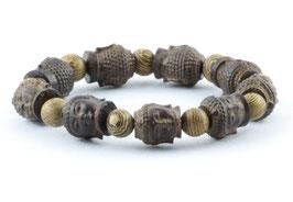 Buddha Armband Braun Holz Hand Geschnitzt