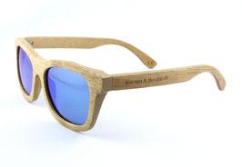Bambus Holz Sonnenbrille im Bambus Etui Hellbraun / Blau