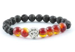 Löwen Armband Lava Stein Feuerrot