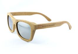 Bambus Holz Sonnenbrille im Bambus Etui Hellbraun / Silber