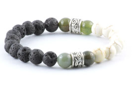 Perlen Armband Chakra Lava Marmor Weiß
