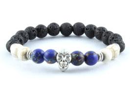 Totenkopf Armband Lava Stein Blau Weiß Marmor