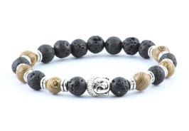 Buddha Armband Lava-Stein / Braun Tiger