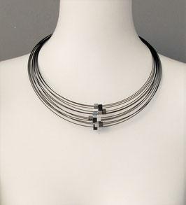 Collier, 10 Quadern silber, schwarz, antrazit, 6 mm